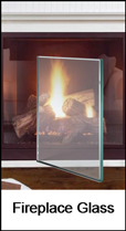 Custom fireplace glass