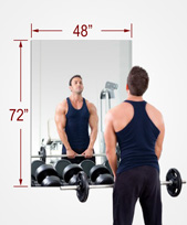 48x72 Inch Rectangle MiraSafe Gym Mirror Kit - 1/4 Inch Thick Single Pack