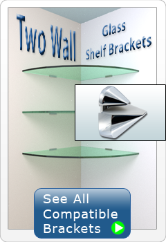 Two Wall Glass Shelf Brackets