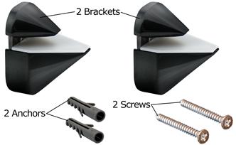Black Adjustable Shelf Bracket Package Content