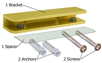 Brass Rectangular Glass Shelf Bracket Package Contents