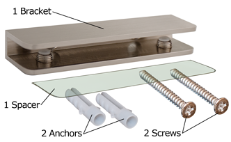Brushed Nickel Rectangular Glass Shelf Bracket Package Contents
