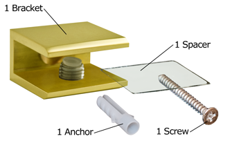 Brass Square Glass Shelf Bracket Package Contents