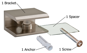 Brushed Nickel Square Glass Shelf Bracket Package Contents