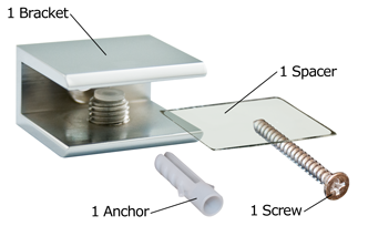 Chrome Square Glass Shelf Bracket Package Contents