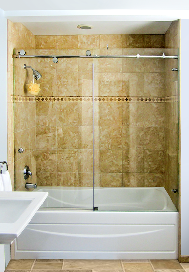 sliding shower doors over the tub enclosure