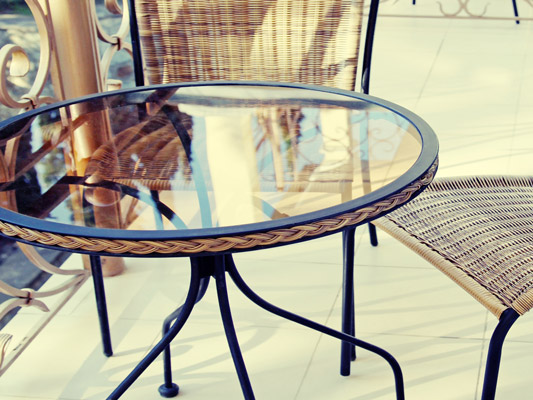 Patio Glass Table Top With Metal Frame