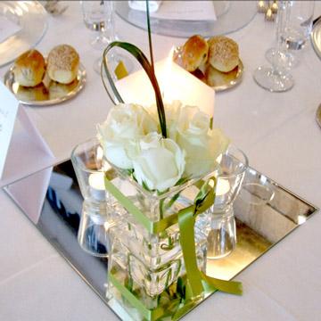 Square mirror for wedding centerpiece