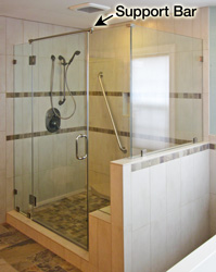 Glass Transom Header Support Bar Shower Sweep